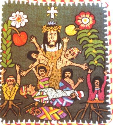 Foto: Stickerei aus Theolog. Werkstätten SANTIAGO DE PUPUJA